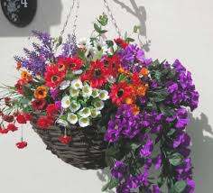 artificial flower large colourful artificial hanging basket with purple and