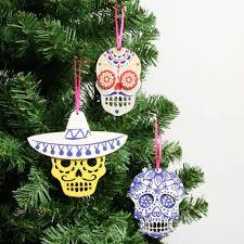 wooden skull christmas decorations set of 3 christmas ideas