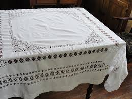 pretty white cotton work tablecloth tag sale item sold