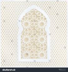 golden white arabic ornamental mosque window stock vector