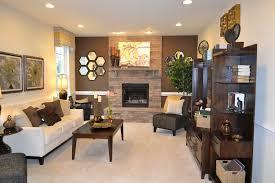 contemporary living room with stone fireplace carpet arizona