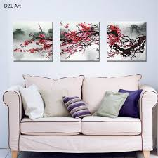 aliexpress com buy unframed 3 sets red plum blossom flowers