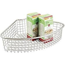 amazon com mdesign lazy susan wire storage basket with handle for