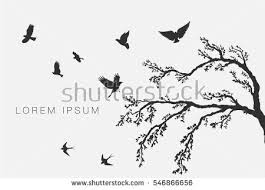 flock flying birds on tree branch stock vector 546866656