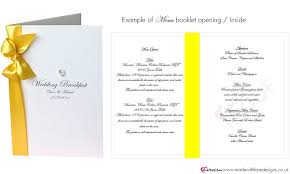 wedding booklet templates luxury wedding breakfast menus for wedding reception available