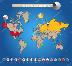 World Map Country Flags Infographics Color Earth Map With Flags Of Different Countries
