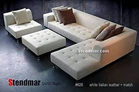 white leather sectional sofa with chaise amazon com 4pc modern white genuine leather sectional sofa chaise