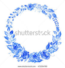 watercolor blue wreath gzhel stylefloral background stock