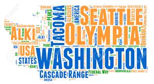 Washington State Mountains Map by Washington Usa State Map Tag Cloud Illustration Stock Photo