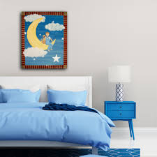 Childrens Bedroom Wall Hangings Fly Me To The Moon Kids Art Canvas Panel Children U0027s Decor Boy