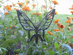 metal flower garden stakes yard garden and flower bed stakes