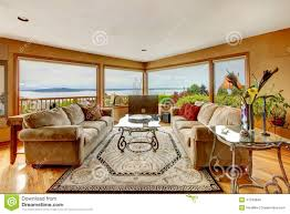beautiful living room with water view stock photo image 41340848