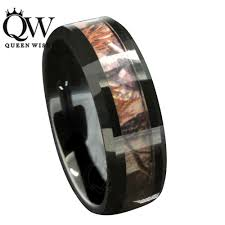 camo mens wedding band queenwish 8mm black tungsten carbide rings forest camouflage