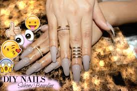 diy cheap fake nails at home coffin style youtube