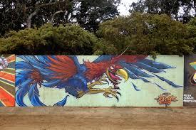 live painted murals at san francisco outside lands street art sf satyr street art mural at outside lands in san francisco golden gate park