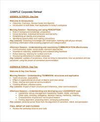 10 retreat agenda templates free word pdf format download