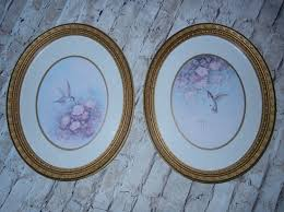 detailed oval frames hummingbird pictures homco home interiors