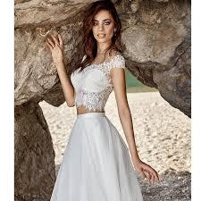 vestido de noiva 2017 two pieces turkey lace bohemian wedding