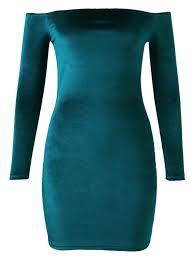 off the shoulder long sleeve velvet dress lake green long sleeve