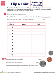 flip a coin learning probability worksheet education com