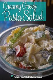 creamy greek pasta salad with feta dishes and dust bunnies