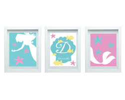 Bedroom Wall Art Sets Art For Girls Mermaid Decor Girls Bedroom Decor Baby Bathroom