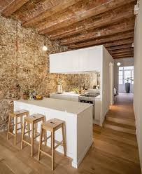 Wooden Interior Newly Renovated Minimalist Apartment With Stone Wall And Wooden