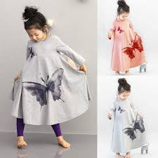 amazon com toddler baby girls dress cotton long sleeve butterfly