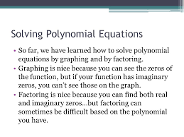 2 solving polynomial equations
