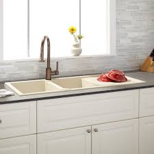 drop in kitchen sink with drainboard 46 tansi double bowl drop in sink with drain board beige kitchen
