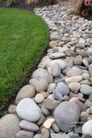 putting rock border around house foundations google search