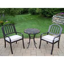 metal patio furniture set furniture 3 piece dark brown rose metal lowes bistro set for