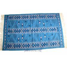 Blue Wool Rug Blue Kilim Rug Handwoven Wool Rug Area