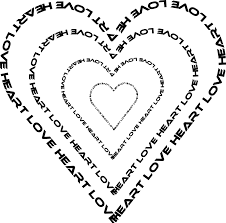 a heart done by words outline sheet page black white line art