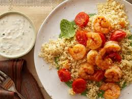 20 minute shrimp and couscous with yogurt hummus sauce recipe