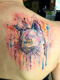 this watercolor tattoo is purrfect pics