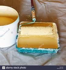 painter roller brush in plastic paint tray with yellow emulsion