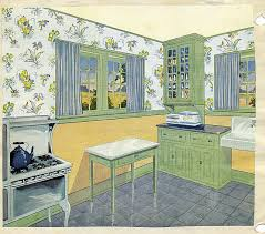 In The Green Kitchen - vintage 1920 kitchen vintage kitchen blue colors and 1920s