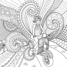 clean lines driving scooter clean lines doodle design for coloring book