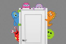monster buddies nursery decor wall decal peeking door hugger zoom