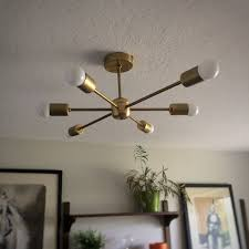 Modern Hanging Lights by Diy Sputnik Light Mid Century Modern Ceiling Fixture Youtube