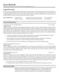 Administrative Secretary Resume Sample by Legal Secretary Resume Berathen Com