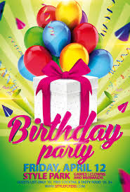 birthday party psd flyer template with animated fully editable