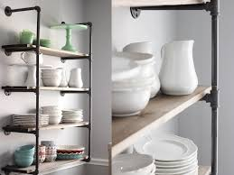 Open Cabinet Kitchen Ideas White And Wood Blog U2013 Galvanized Pipe Shelves With 1 2 Inch Pipie
