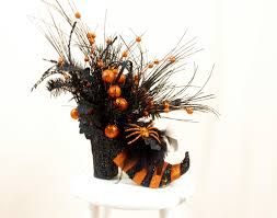 halloween floral decorations orange and black witch boot centerpiece halloween decoration