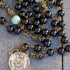 black rosary st anthony christopher rosary bronze black onyx free