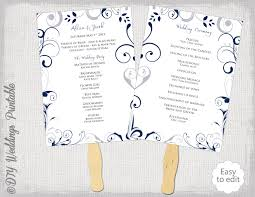 wedding ceremony program fans wedding program fan template scroll navy silver