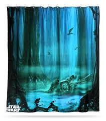 Star Wars Bathroom Accessories Star Wars Dagobah Shower Curtain Thinkgeek Star Wars Bathroom