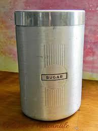 Vintage Kitchen Canisters Vintage Brushed Aluminum Sugar Canister Mid Century Kitchen