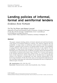 Formal Credit And Informal Credit lending policies of informal formal and pdf available